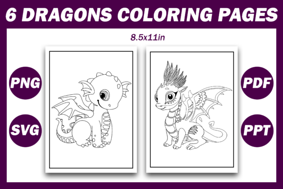 Print on Demand: 6 Cute Dragons Coloring Pages Graphic Coloring Pages & Books Kids By Fayne