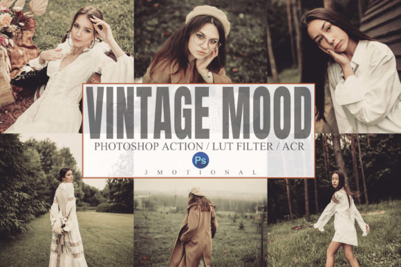 Print on Demand: 8 Vintage Mood Photoshop Actions Graphic Actions & Presets By 3Motional