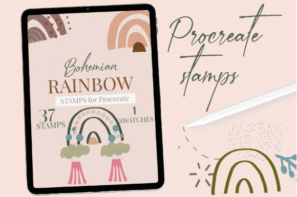 Abstract Boho Rainbow Procreate Stamps. Graphic Brushes By cyrilliclettering