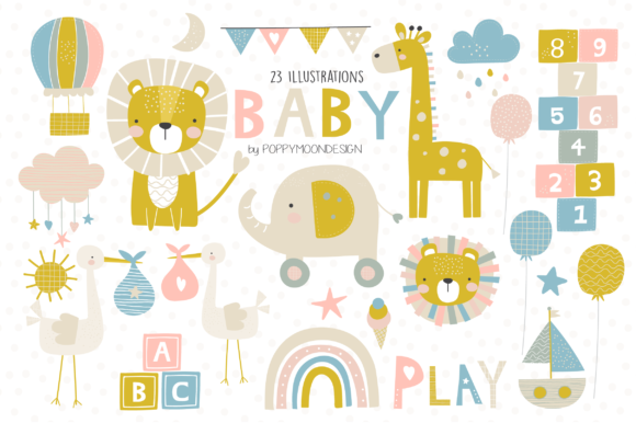 Print on Demand: Baby Clipart Set Graphic Illustrations By poppymoondesign