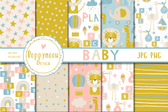 Print on Demand: Baby Paper Set Graphic Patterns By poppymoondesign - Image 1
