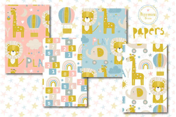 Print on Demand: Baby Paper Set Graphic Patterns By poppymoondesign - Image 2