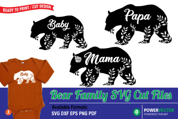 Bear Family Print  Graphic Crafts By PowerVECTOR