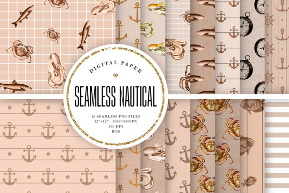 Print on Demand: Beige Nautical Seamless Patterns Graphic Backgrounds By Sabina Leja