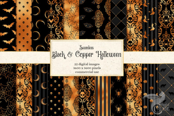 Print on Demand: Black and Copper Halloween Digital Paper Grafik Hintegründe von Digital Curio