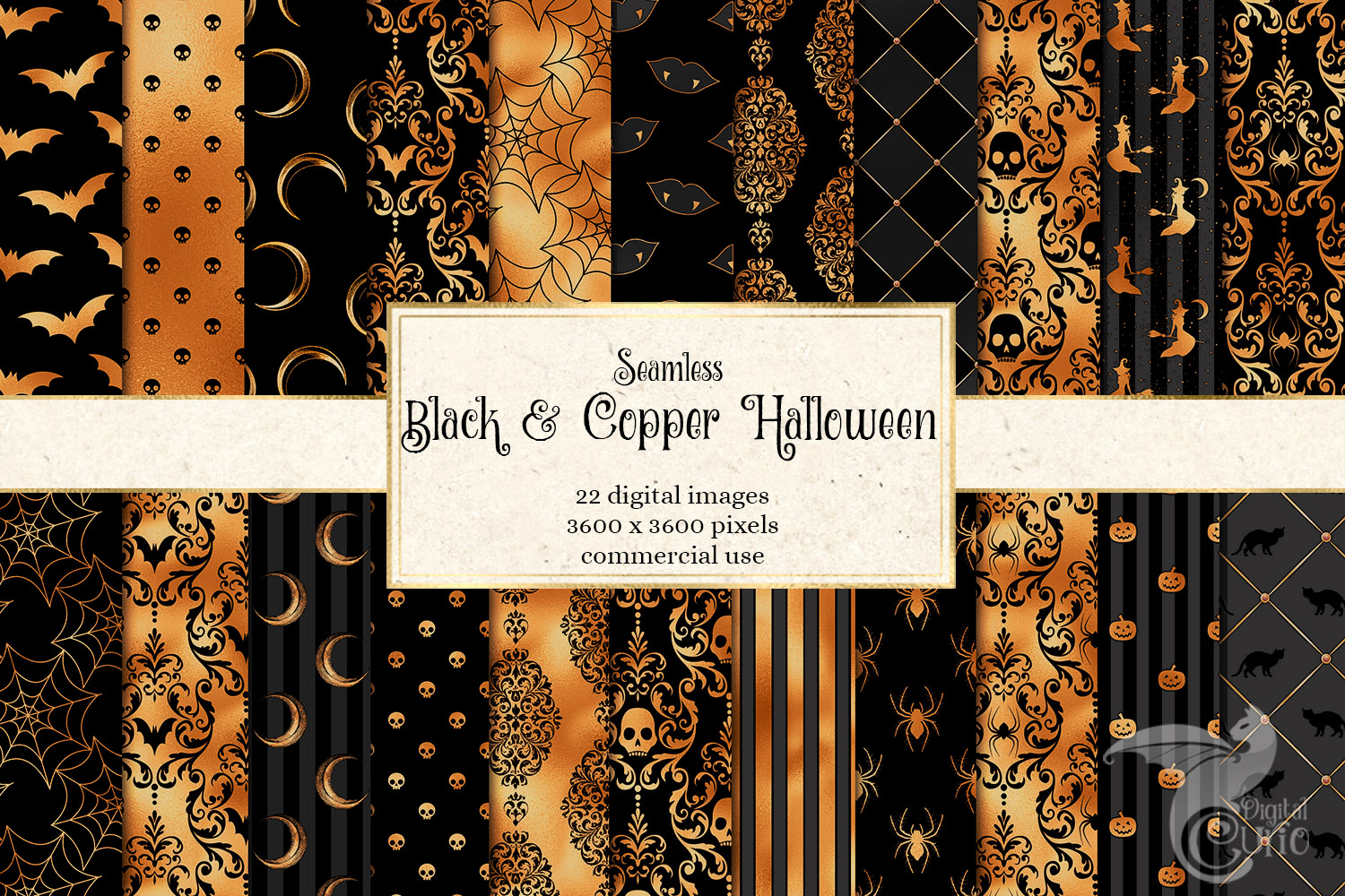 Black And Copper Halloween Digital Paper Graphic By Digital Curio Creative Fabrica