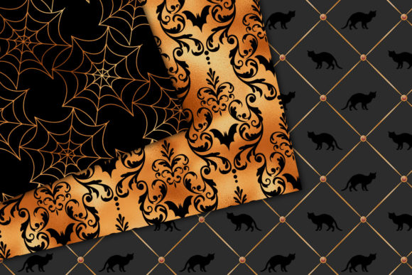 Print on Demand: Black and Copper Halloween Digital Paper Graphic Backgrounds By Digital Curio - Image 2