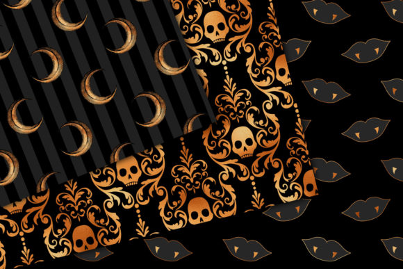 Print on Demand: Black and Copper Halloween Digital Paper Graphic Backgrounds By Digital Curio - Image 3