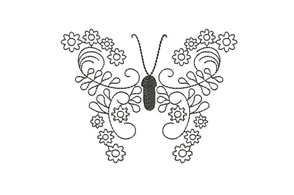 Print on Demand: Butterfly Stylized Flowers Bugs & Insects Embroidery Design By EmbArt