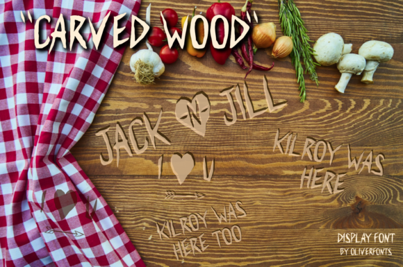 Print on Demand: Carved Wood Display Font By OLIVERFONTS