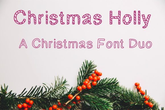 Print on Demand: Christmas Holly Display Font By KateType