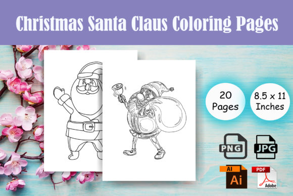Print on Demand: Christmas Santa Claus Coloring Page -KDP Graphic Coloring Pages & Books Adults By Sei Ripan - Image 1