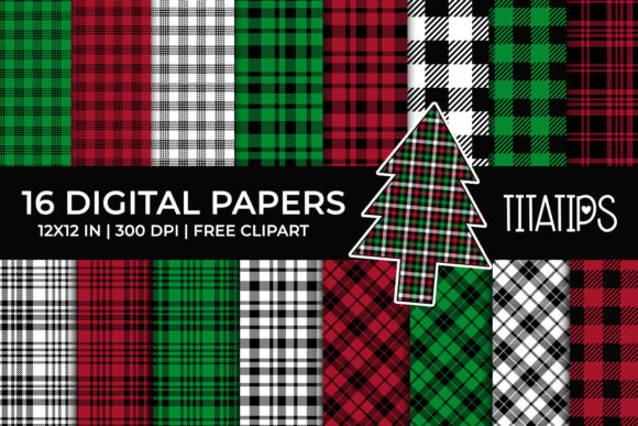Christmas Tartan Plaid Digital Papers Graphic Backgrounds By TitaTips
