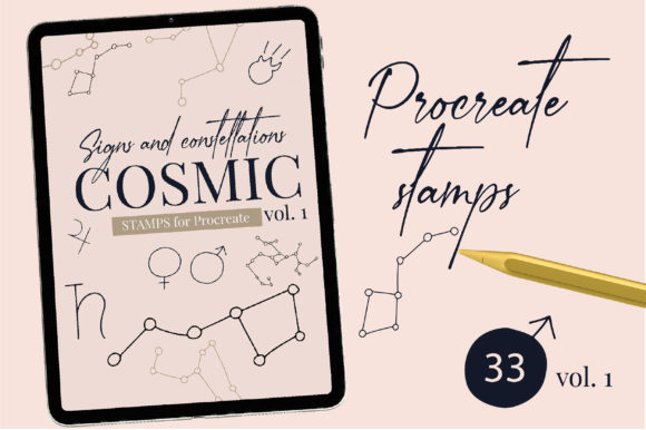 Cosmic Procreate Stamps with Astronomic Graphic Brushes By cyrilliclettering