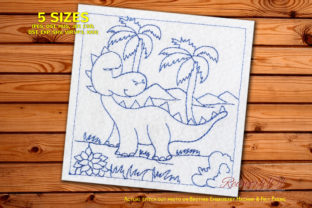 Cute Baby Dinosaur in Forest Dinosaurs Embroidery Design By Redwork101