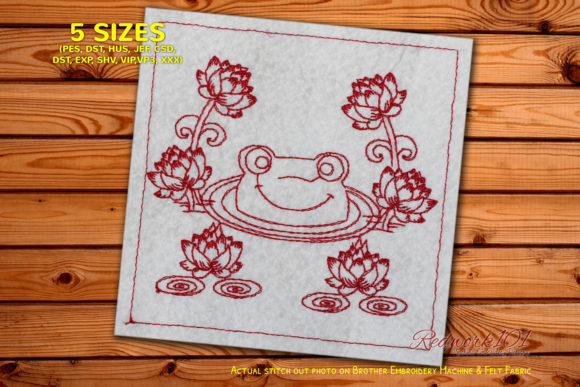 Cute Frog Smiling from Water Reptiles Embroidery Design By Redwork101