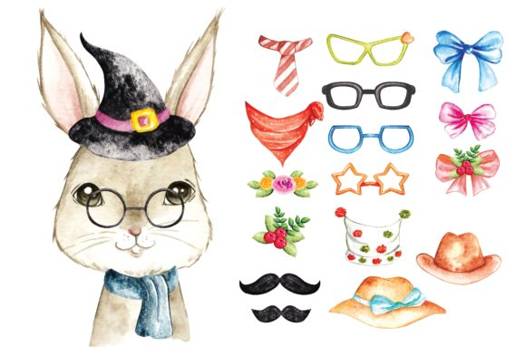 Cute Bunny Water Colour Vector Graphic Illustrations By Big Barn Doodles
