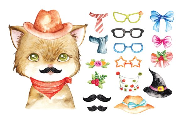 Cute Cat Water Colour Vector Graphic Illustrations By Big Barn Doodles