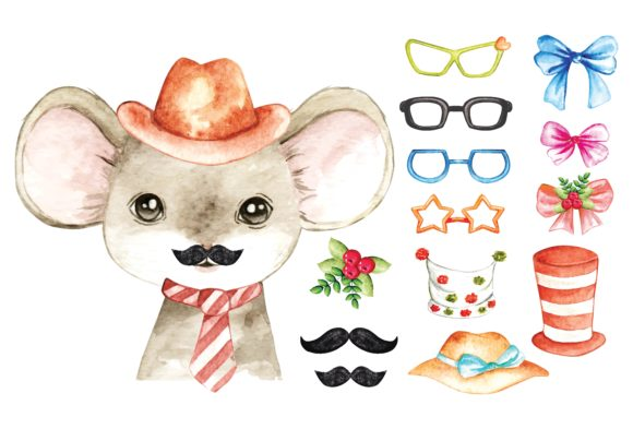 Cute Mouse Water Colour Vector Graphic Illustrations By Big Barn Doodles