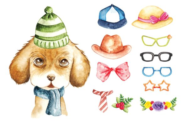 Cute Puppy Water Colour Graphic Illustrations By Big Barn Doodles