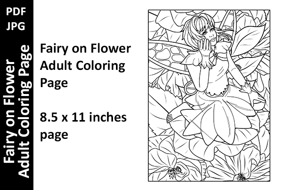 Fairy on Flower Adult Coloring Page Graphic