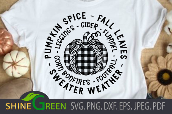 Print on Demand: Fall Pumpkin Spice Plaid Autumn Quotes Graphic Crafts By ShineGreenArt