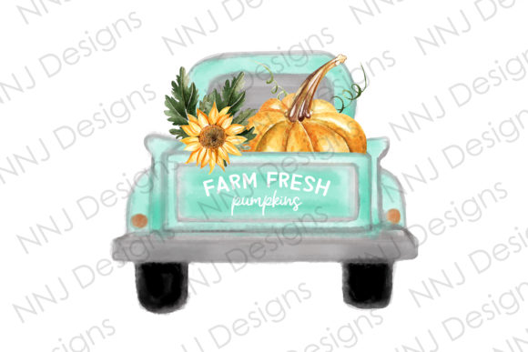 Print on Demand: Farm Fresh Pumpkins PNG Vintage Truck Graphic Illustrations By NNJ Designs