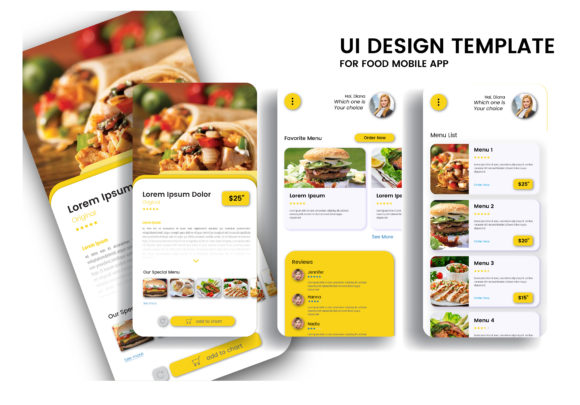Food Mobile App User Interface Graphic UX and UI Kits By hafidz.putra67