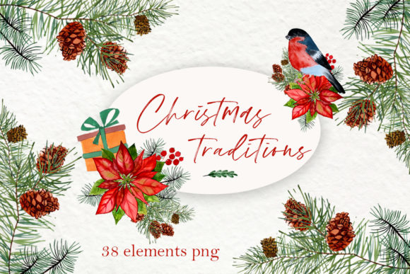 Print on Demand: Forest Christmas Watercolor Clipart Graphic Illustrations By ElenaZlataArt