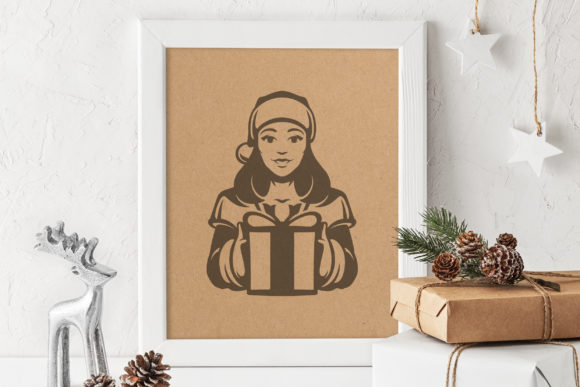 Girl Wearing Santa Hat with Gift Graphic Illustrations By vasyako1984