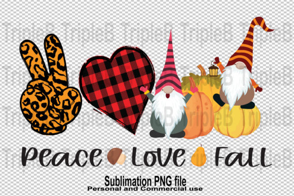 Print on Demand: Gnomes Peace Love Fall Sublimation Graphic Illustrations By TripleBcraft