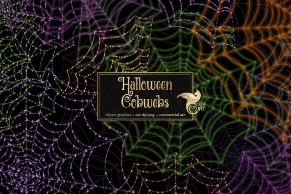 Print on Demand: Halloween Cobwebs Clipart Graphic Illustrations By Digital Curio