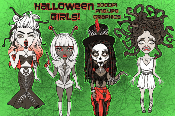 Halloween Costume Girls Collection Graphic Illustrations By Dapper Dudell