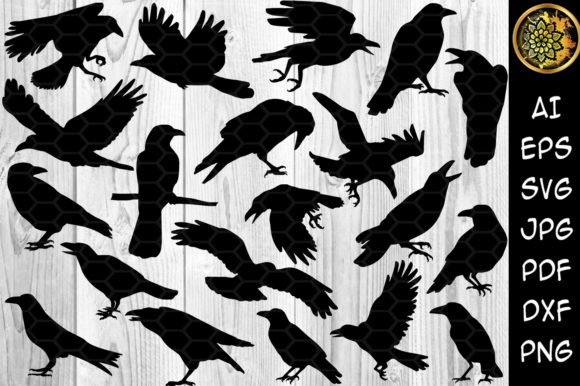 Print on Demand: Halloween Crow Silhouette Clip Art Graphic Illustrations By V-Design Creator