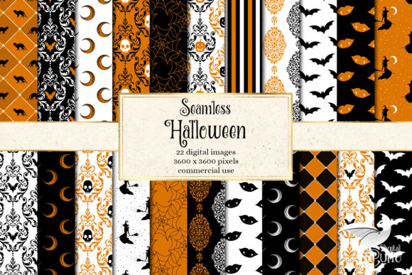 Print on Demand: Halloween Digital Paper Graphic Backgrounds By Digital Curio