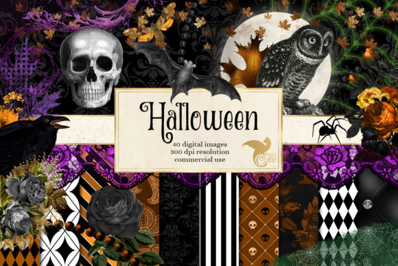 Print on Demand: Halloween Digital Scrapbook Kit Graphic Illustrations By Digital Curio