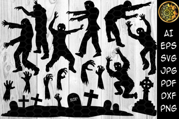 Halloween Zombie Silhouette Clip Art Graphic Illustrations By V-Design Creator