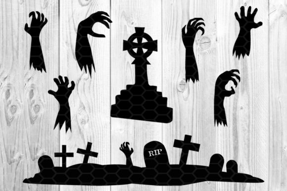 Halloween Zombie Silhouette Clip Art Graphic Preview