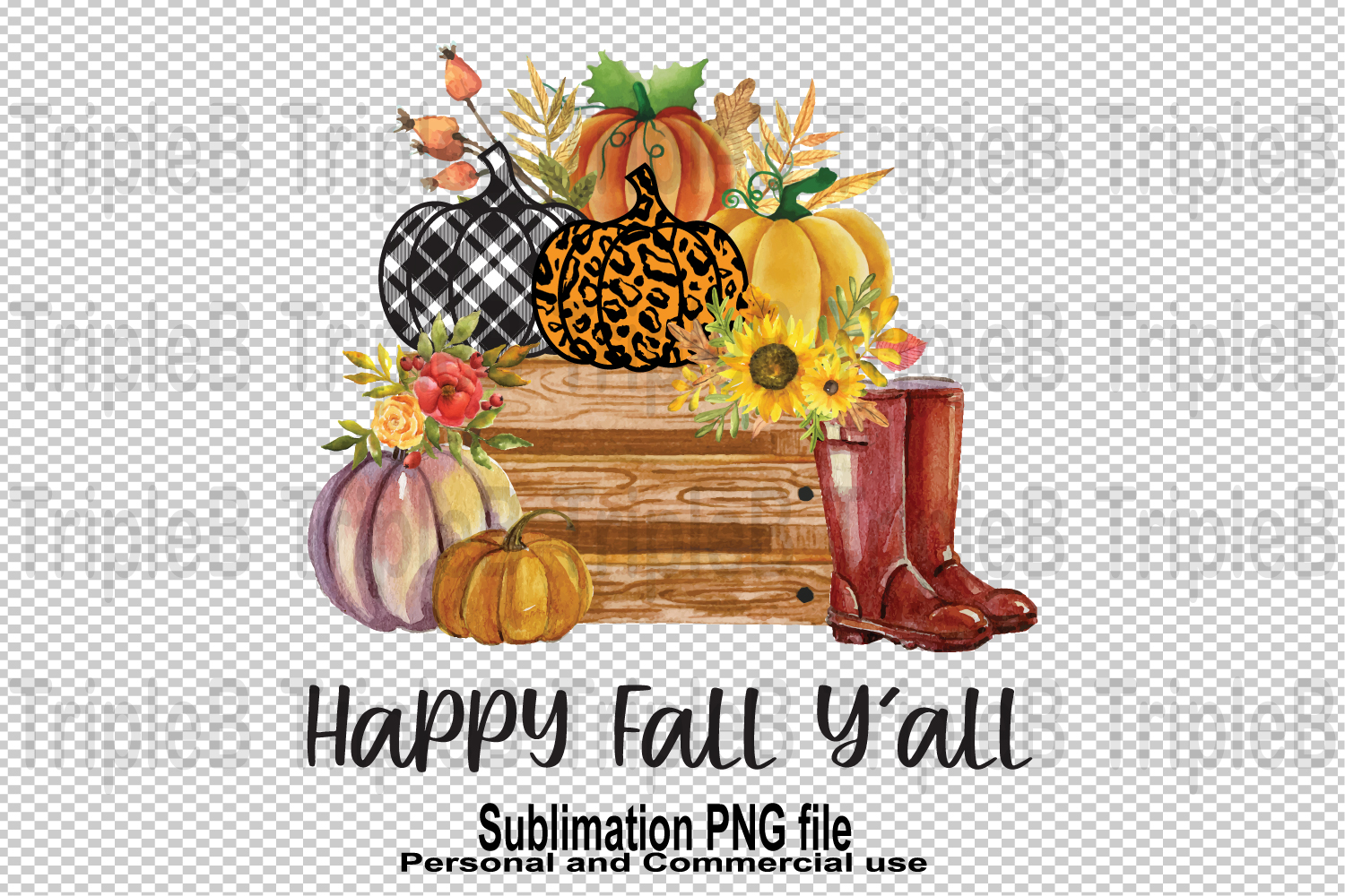 Happy Fall Y'all Pumpkin Sublimation (Graphic) by ...