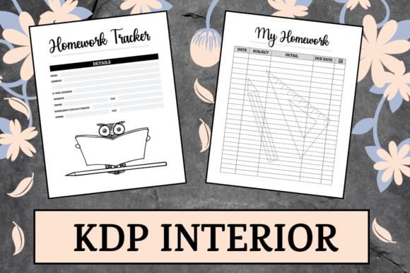 Print on Demand: Homework Tracker | KDP Interior Graphic KDP Interiors By Hungry Puppy Studio