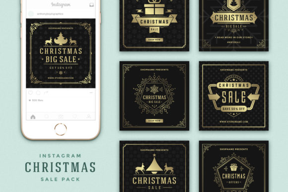 Instagram Christmas Sale Graphic Web Elements By vasyako1984