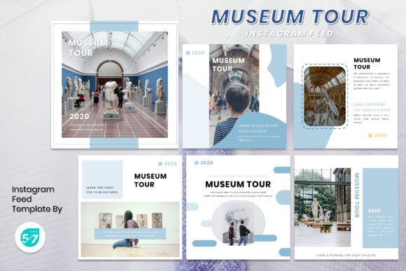 Instagram Feed Template - Museum Tour Graphic Presentation Templates By maju57creative
