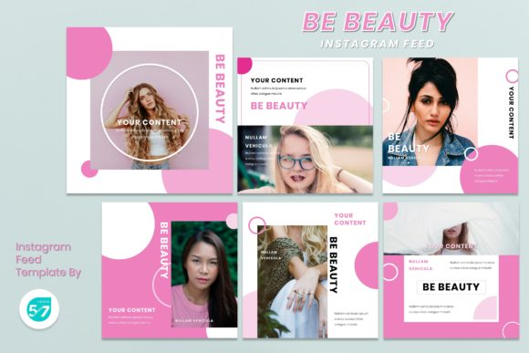 Instagram Feed Template - Woman Pinky Graphic Presentation Templates By maju57creative