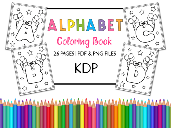 KDP Alphabet Coloring Book for Kids Gráfico Libros para colorear - Niños Por Miss Cherry Designs