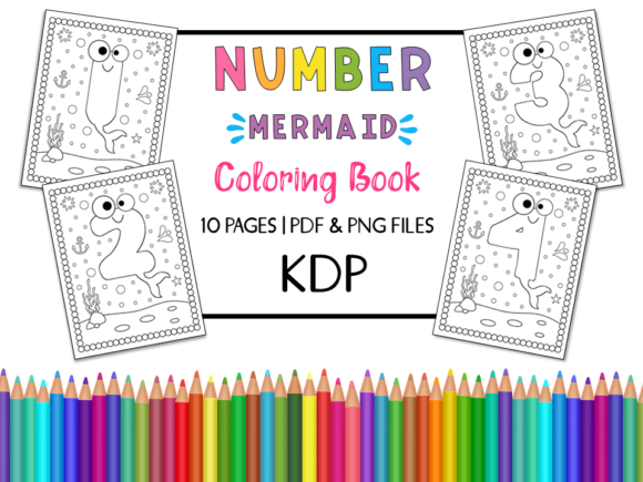 KDP Number Mermaid Coloring Book Graphic Coloring Pages & Books Kids By Miss Cherry Designs