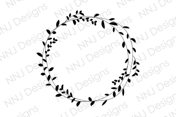 Print on Demand: Laurel Wreath Floral Leaves Round Circle Graphic Illustrations By NNJ Designs
