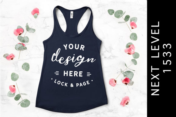 Midnight Navy Next Level 1533 Tank Top Graphic Product Mockups By lockandpage