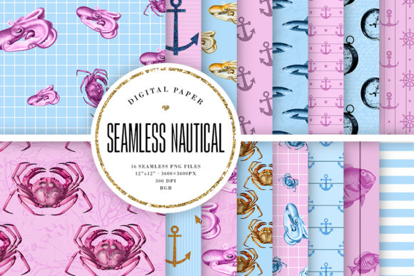 Print on Demand: Nautical Seamless Patterns - Pink & Blue Graphic Backgrounds By Sabina Leja