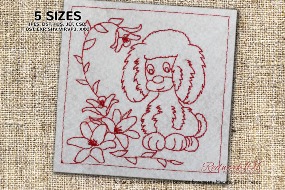 Nice Puppy Looking at Flowers Redwork Dogs Embroidery Design By Redwork101