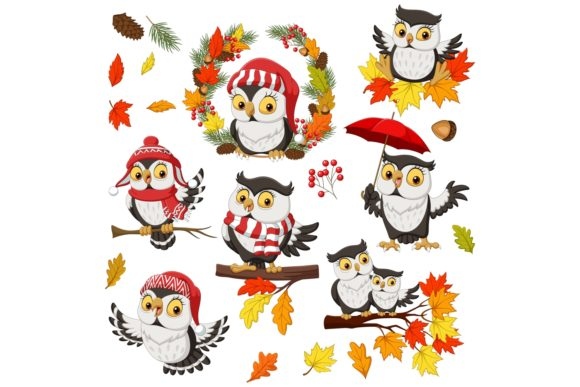 Owl Fall Autumn Bundle Graphic Illustrations By tigatelusiji